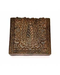 Antik dřevěná raznice na tisk přehozů s motivem floral, block print, 15x7cm