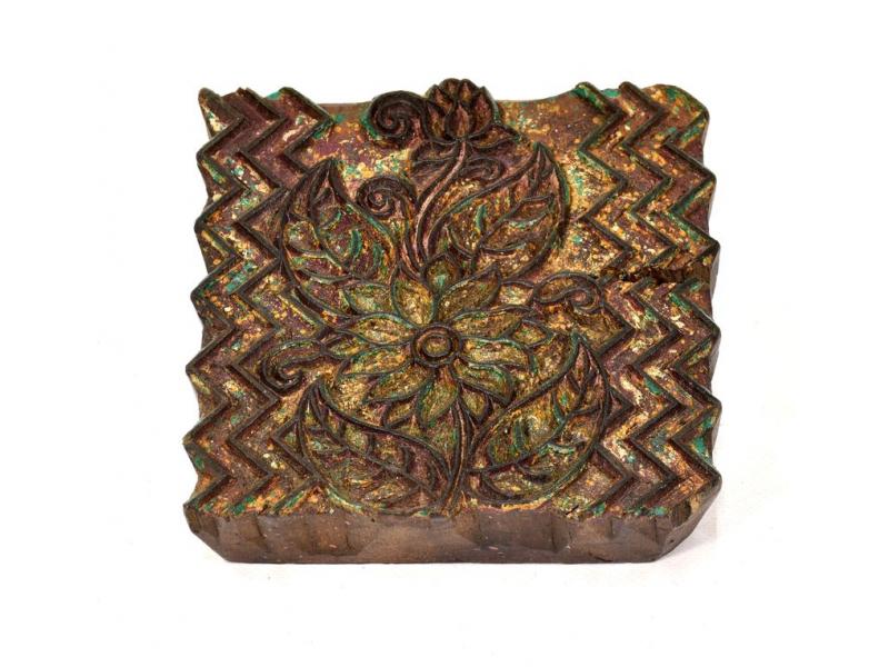 Antik dřevěná raznice na tisk přehozů s motivem floral, block print, 14x13cm