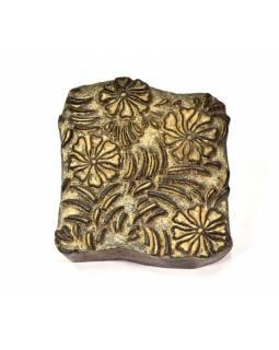 Antik dřevěná raznice na tisk přehozů s motivem floral, block print, 18x16cm