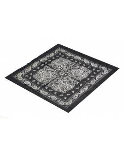 Šátek s paisley potiskem, černý, 50x50cm