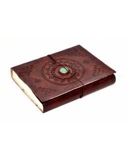 Notes v kožené vazbě s ozdobným kamenem, ruční papír, 16x21cm