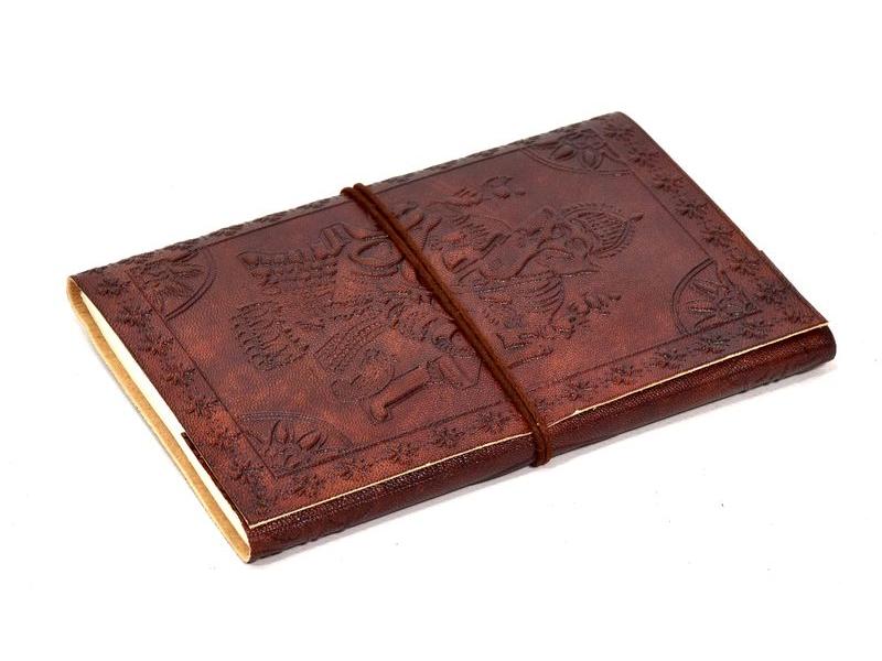 Notes v kožené vazbě s Ganéšou, ruční papír, 12x18cm