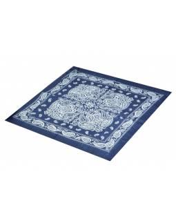 Šátek s paisley potiskem, tmavě modrý, 50x50cm