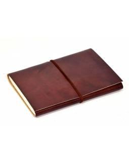 Notes v kožené vazbě, hladký, ruční papír, 12x18cm