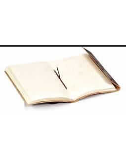 Notes v kožené vazbě s Ganéšou, ruční papír, 11x15cm
