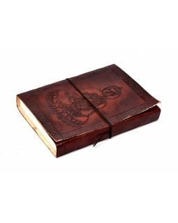 Notes v kožené vazbě s Buddhou, ruční papír, 13x18cm