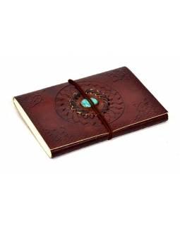 Notes v kožené vazbě s ozdobným kamenem, ruční papír, 12x18cm