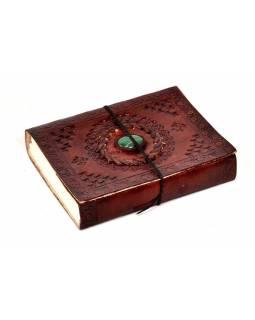 Notes v kožené vazbě s ozdobným kamenem, ruční papír, 12x15cm