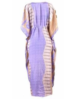 Dlouhé šaty s potiskem, krátký rukávek, fialové-béžové