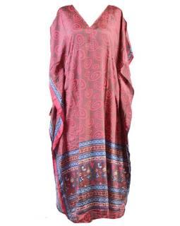 Dlouhé šaty s potiskem, krátký rukávek, růžovo-šedivé