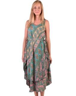 Šaty na ramínka, dvouvrstvé, potisk