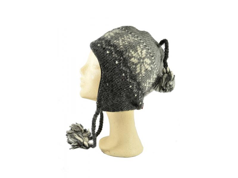Čepice, uši, vlna, podšívka, vzor vločka, šedá