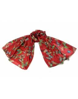 Hedvábný šátek s motivem motýlů, červený, 170x105cm