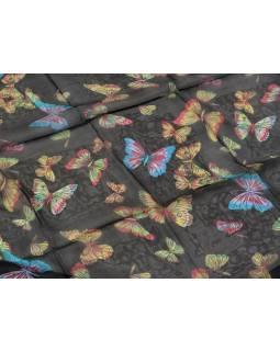 Hedvábný šátek s motivem motýlů, černý, 170x105cm