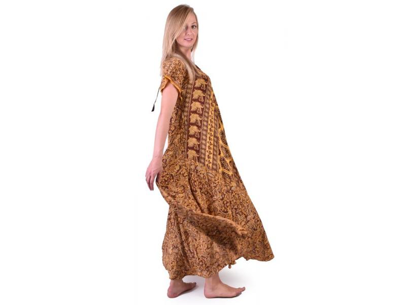 Dlouhé pohodlné šaty s rukávkem, potisk
