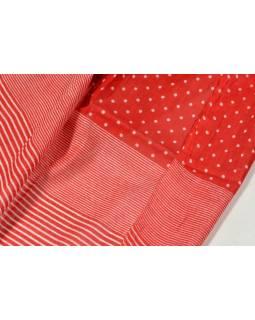 Śátek s motivem puntíků a proužků, červeno bílý, 180x105cm