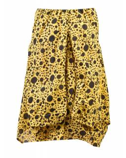 Balonová sukně s potiskem puntíků, žlutá