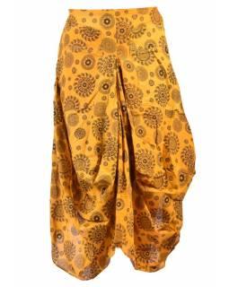 Balonová sukně s potiskem mandal, žlutá