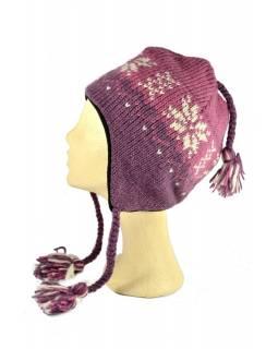 Čepice, uši, vlna, podšívka, vzor vločka, růžová