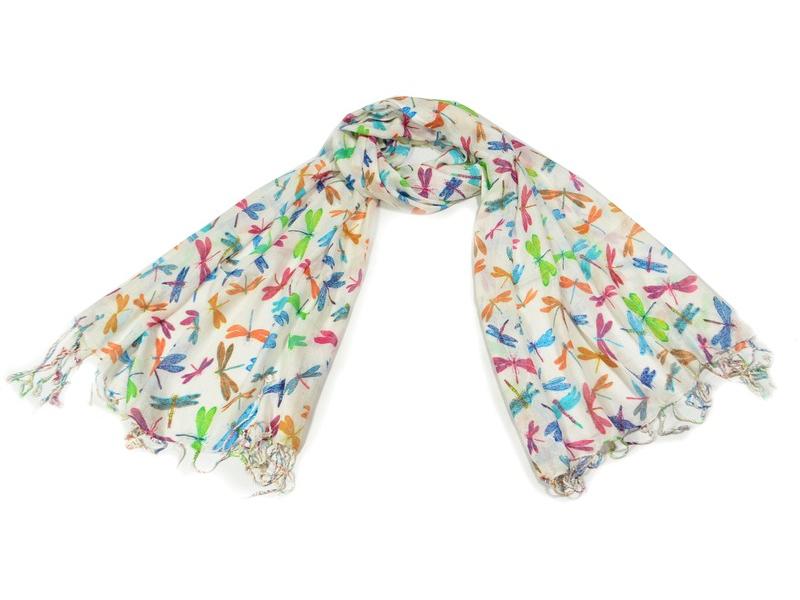 Šátek s motivem vážek a třásněmi, béžový, 180x75cm