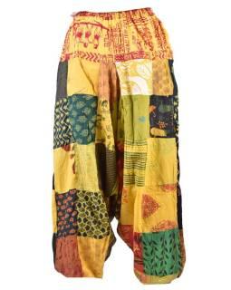 Unisex turecké kalhoty, patchwork design, elastický pas, žluté