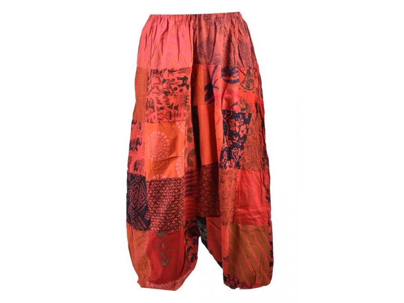 Unisex turecké kalhoty, patchwork design, elastický pas, červené