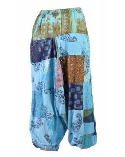 Unisex turecké kalhoty, patchwork design, elastický pas, modré