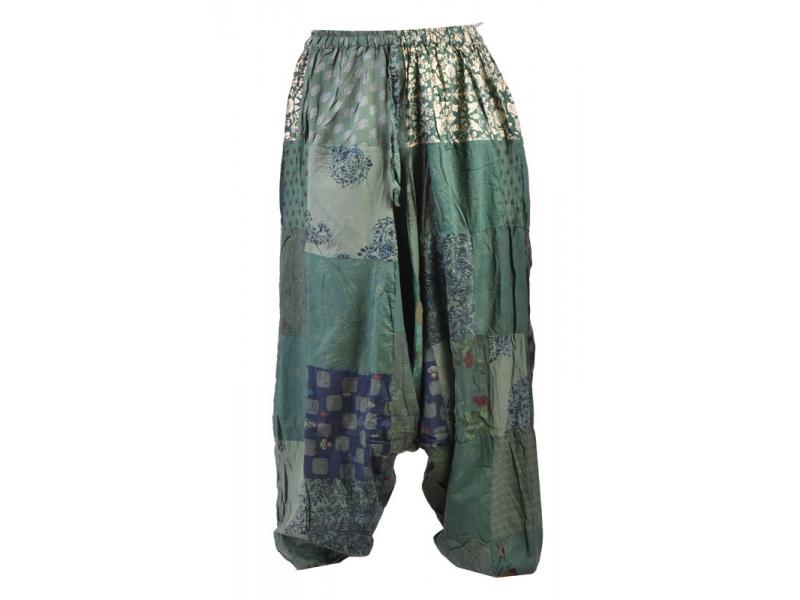 Unisex turecké kalhoty, patchwork design, elastický pas, zelené