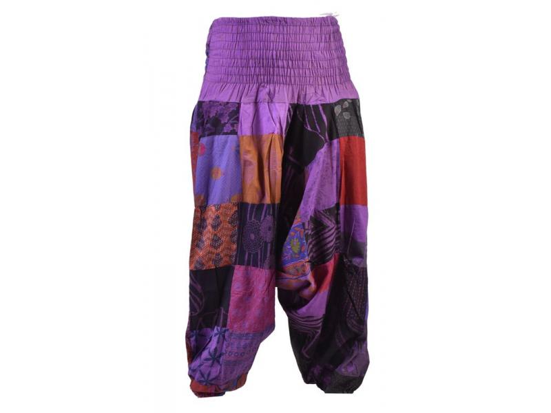 Unisex turecké kalhoty, patchwork design, bobbin, fialové