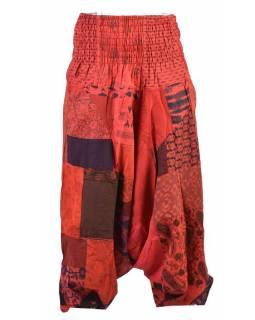 Unisex turecké kalhoty, patchwork design, bobbin, červené