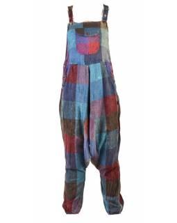 Turecké kalhoty s laclem, rozepínání na knoflíky, kapsy, patchwork design