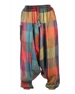 Turecké unisex kalhoty, kapsy, patchwork design