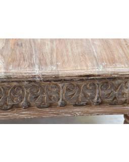 Konferenční stolek, ruční řezby, bílá patina, 139x76x46cm