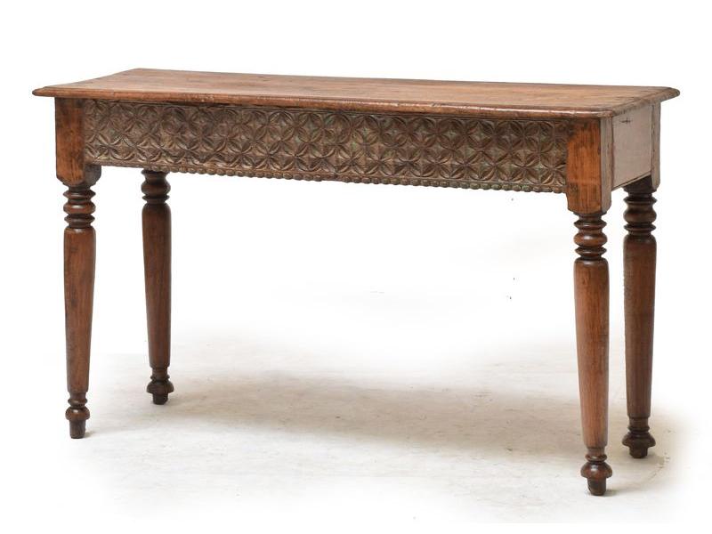 Konzolový stolek z teakového dřeva, ruční řezby, 120x42x73cm