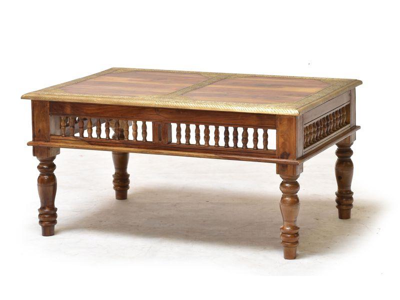 Konferenční stolek z palisandrového dřeva zdobený mosazným kováním, 90x60x45cm