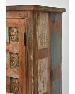 Skříň z teakového dřeva, zdobená mosaznými Buddhy, 80x40x150cm