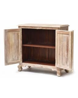 Skříňka z teakového dřeva, ruční řezby, bílá patina, 90x40x90cm