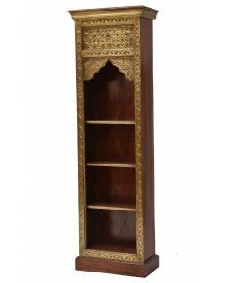 Knihovna z palisandrového dřeva, zdobená mosazí, 55x30x180cm