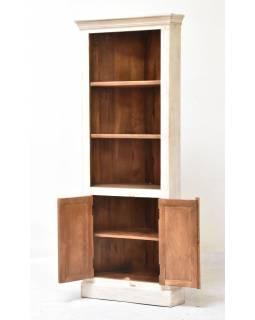 Rohová knihovna z mangového dřeva, ruční řezby, 76x44x185cm