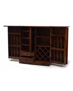 Barový pult, rozkládací, mosazné kování, palisandr, 180/90x50x112cm