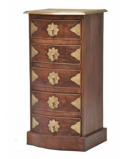 Komoda z palisandrového dřeva s mosazným kováním a šuplíky, 45x40x90cm