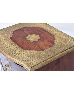 Komoda z palisandrového dřeva s mosazným kováním a šuplíky, 45x40x75cm