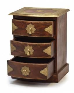 Komoda z palisandrového dřeva s mosazným kováním a šuplíky, 45x40x60cm