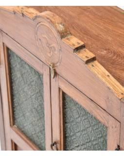 Prosklená skříňka, oltář, ze starého teakového dřeva, 50x45x85cm