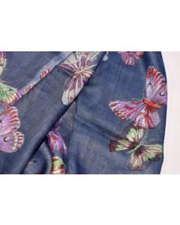 Šátek s motivem motýlů a třásněmi, modrý, 180x75cm