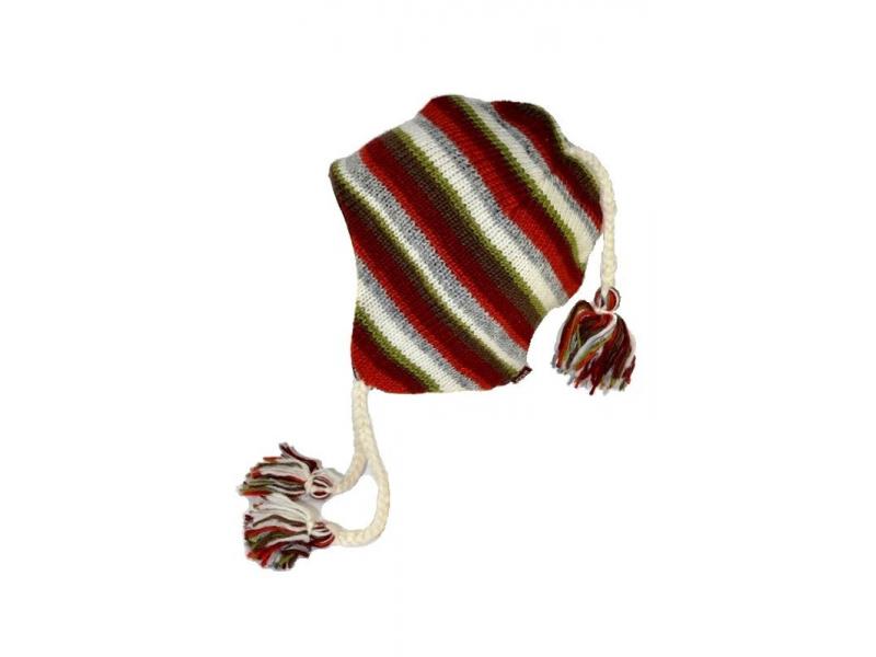 Čepice, uši, vlna, podšívka, pruhy červeno-šedo-zelené