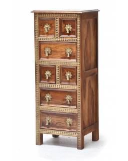 Šuplíková komoda z palisndrového dřeva zdobená mosazí, 45x38x110cm