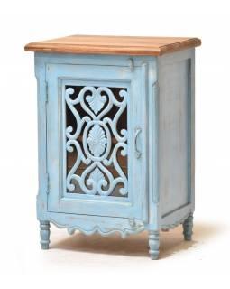 Noční stolek z mangového dřeva, ruční řezby, sklo, 50x39x72cm
