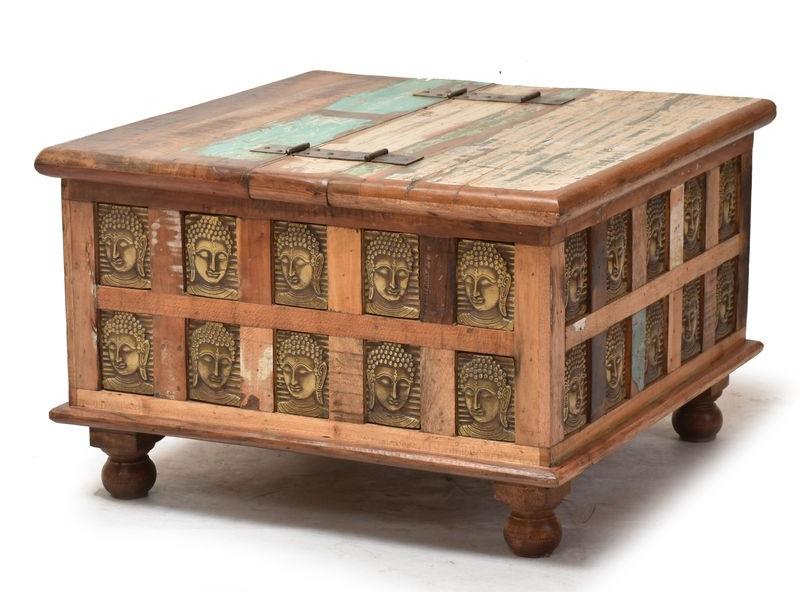 Truhla z teakového dřeva, zdobená mosaznými slony, 70x70x45cm