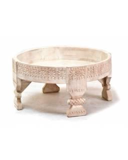 Ručně vyřezávaný kulatý stolek z mangového dřeva, 60x60x31cm